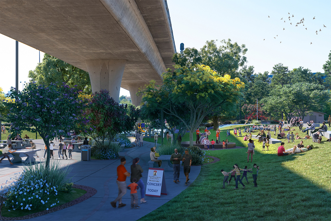SDSU Mission Valley River Park Amphitheater Hill view