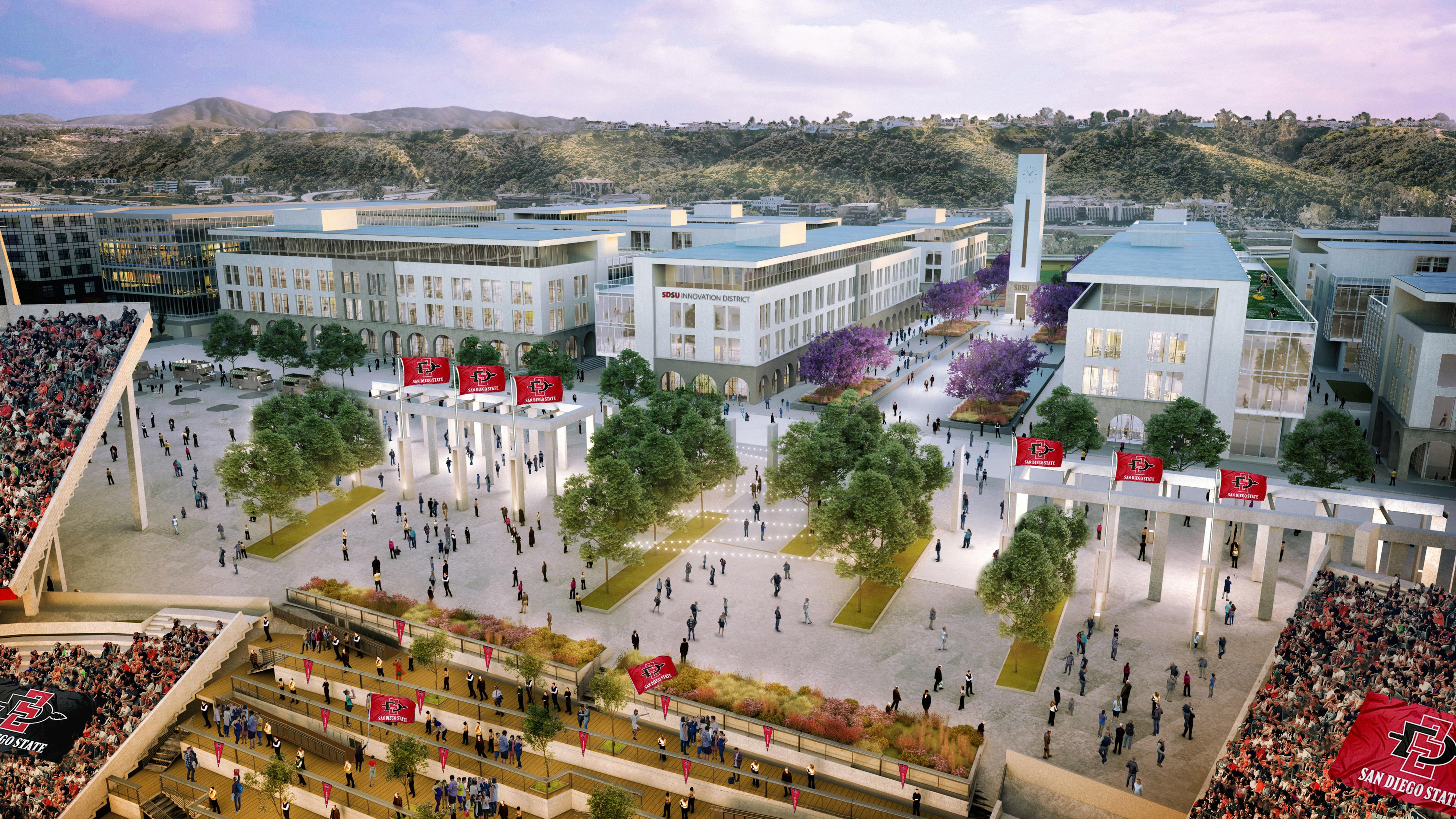 Looking South From Aztec Stadium To The SDSU Innovation District